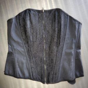 Torrid Black Lace Up Back Zip Front Corset Bustier
